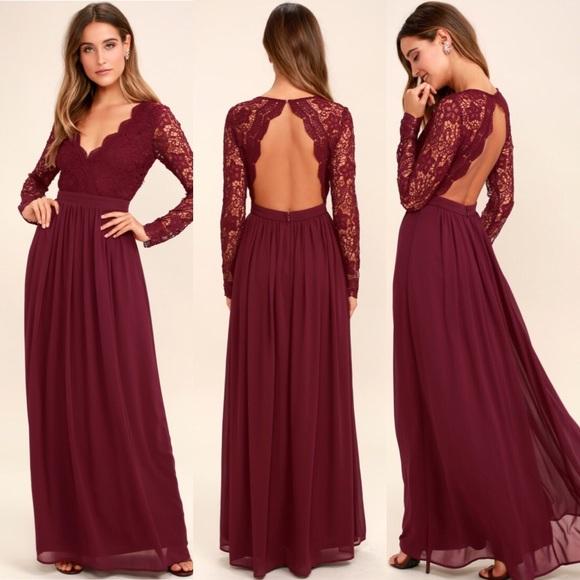 08f80546d46fa Lulu's Dresses | Burgundy Long Sleeve Lace Maxi Dress | Poshmark